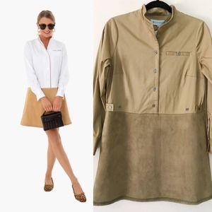 New Tuckernuck Delfina Brown Suede Shirt Dress S